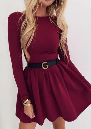Solid O-Neck Mini Dress without Belt - Burgundy