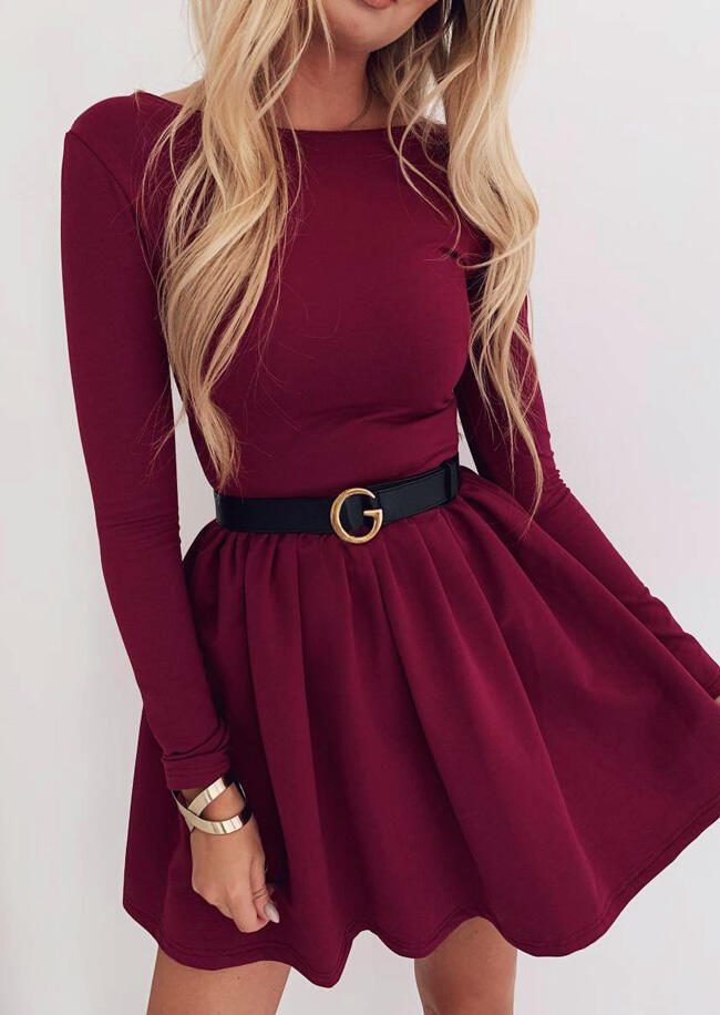 Mini Dresses O-Neck Mini Dress without Belt - Burgundy. Size: S,M фото