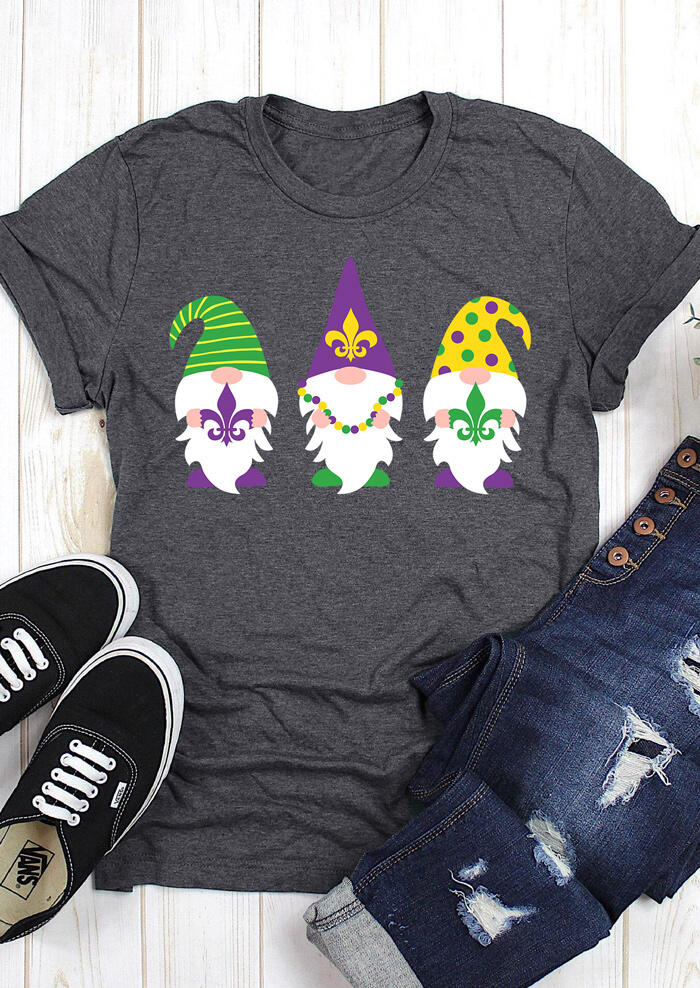 Mardi Gras Gnomies O-Neck T-Shirt Tee - Dark Grey фото
