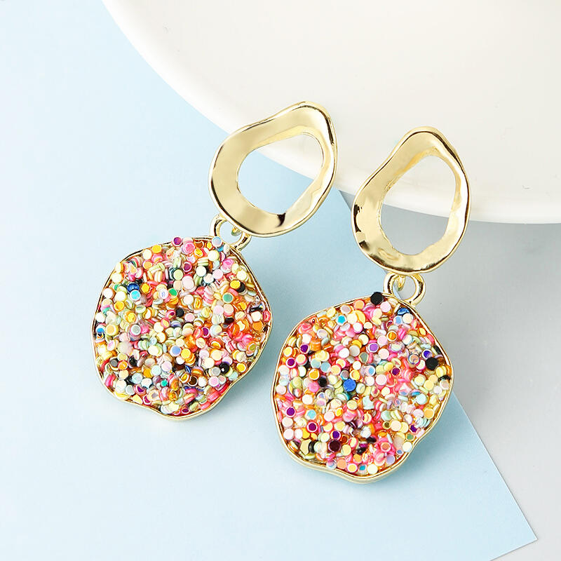 Earrings Colorful Gravel Round Pendant Earrings in Gold. Size: One Size фото