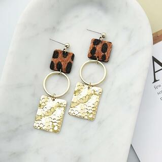 Leopard Printed Splicing Sequined Earrings