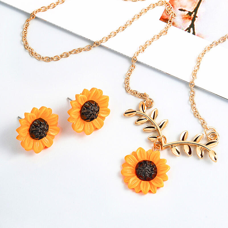 3 Pieces/Set Women's Sunflower Necklace and Earrings Set фото