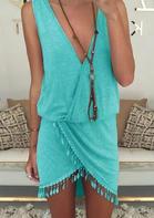 Solid Tassel Irregular Ruffled Mini Dress without Necklace