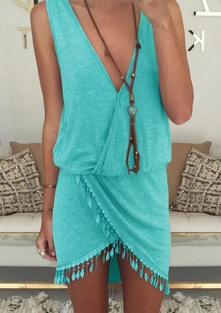 Solid Tassel Irregular Ruffled Mini Dress without Necklace