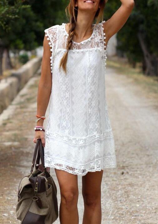 Solid Lace Tassel Splicing Mini Dress - White фото