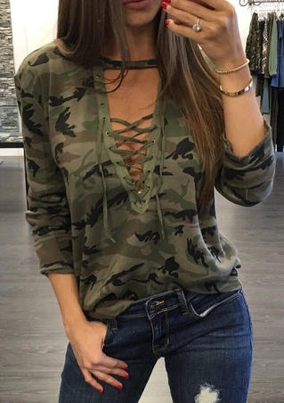 Lace Up Camouflage Printed Long Sleeve Blouse