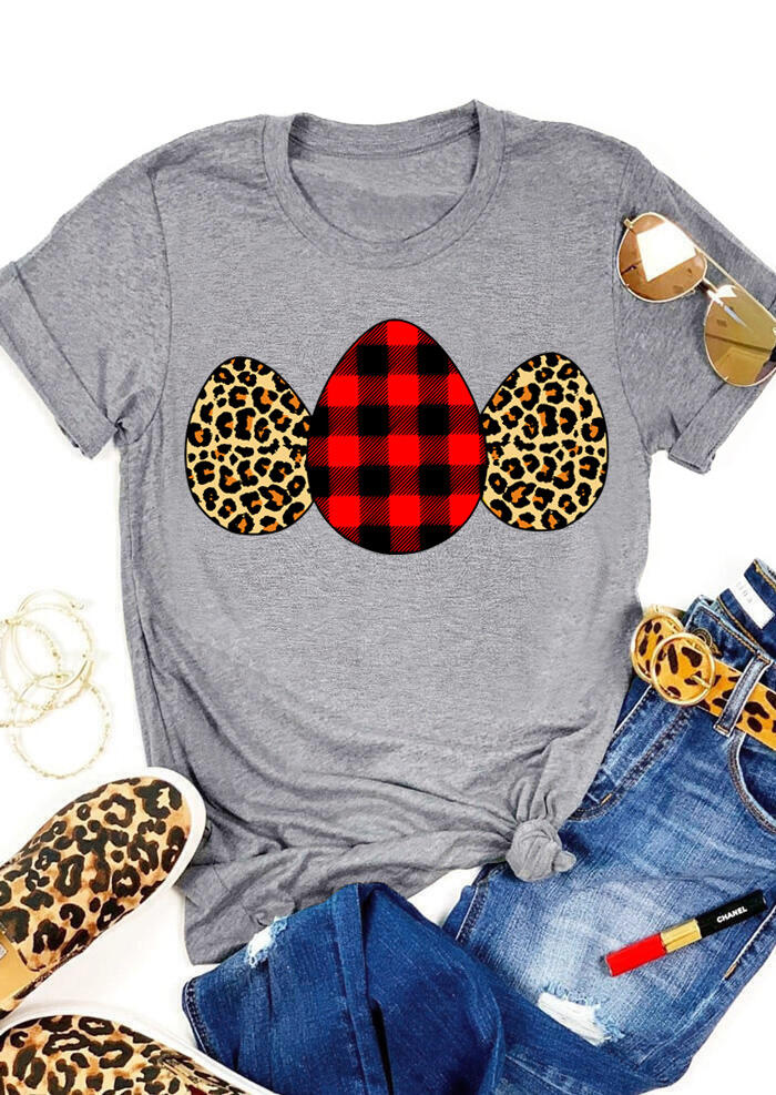 FairySeason / Presale - Plaid Leopard Printed Easter Eggs T-Shirt Tee - Gray