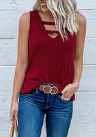 Hollow Out Casual Tank - Burgundy