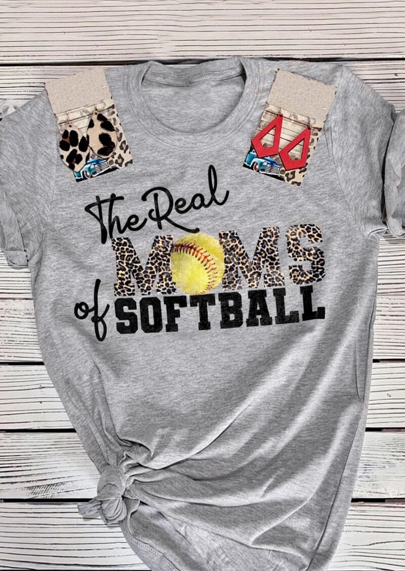 The Real Moms Of Softball Leopard T-Shirt Tee - Gray фото