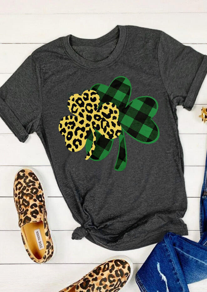 Plaid Leopard Printed Lucky Shamrock T-Shirt Tee - Dark Grey фото