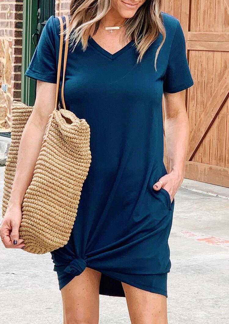 Short Sleeve V-Neck Mini Dress without Necklace - Deep Blue фото