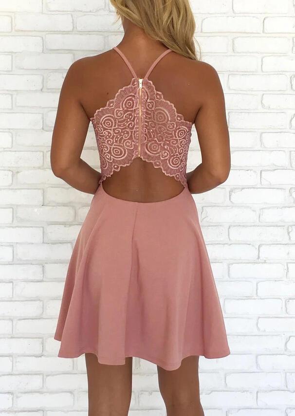 Mini Dresses Lace Splicing Open Back Zipper Mini Dress - Pink. Size: XL фото