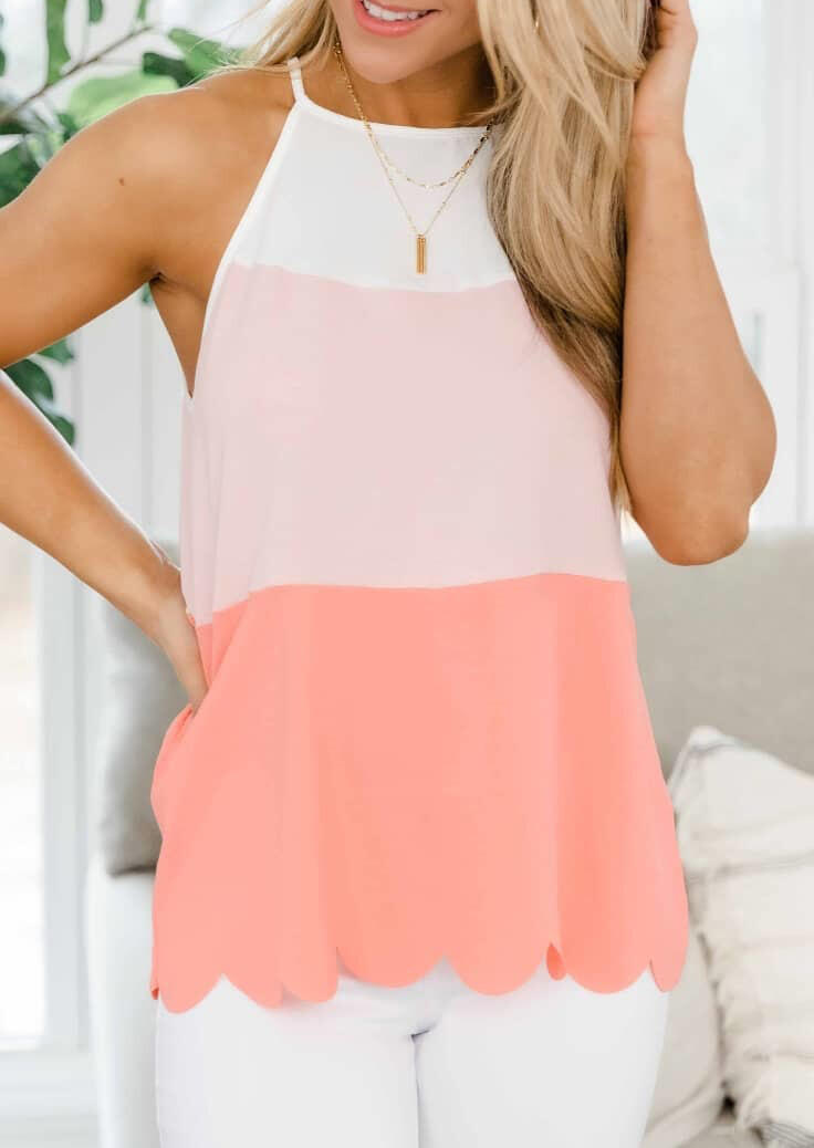 Color Block Tie Camisole without Necklace - Pink фото