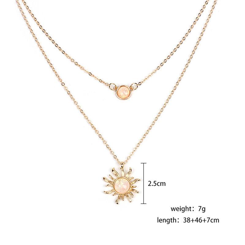 Sunflower Rhinestone Dual-Layered Necklace фото