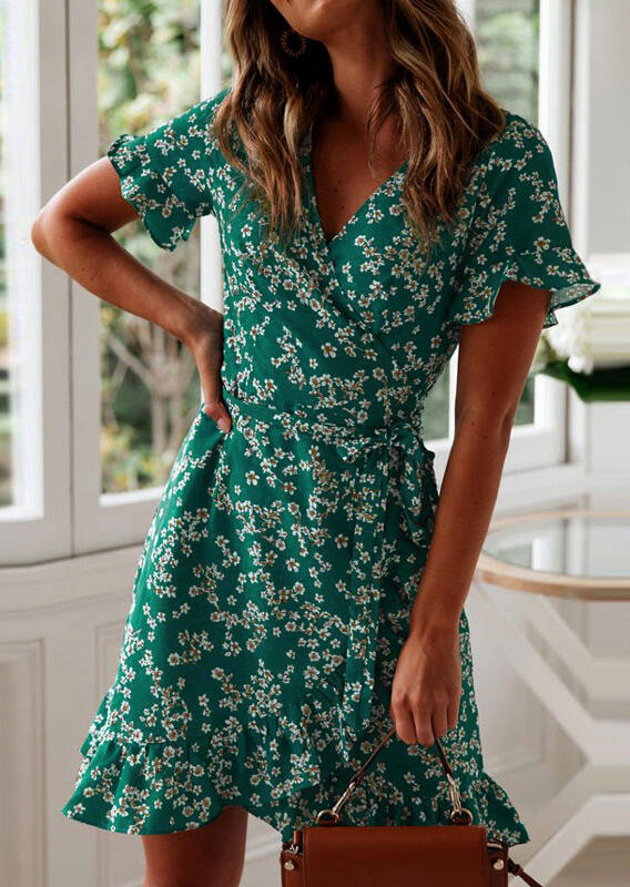 Floral Ruffled V-Neck Mini Dress - Green фото