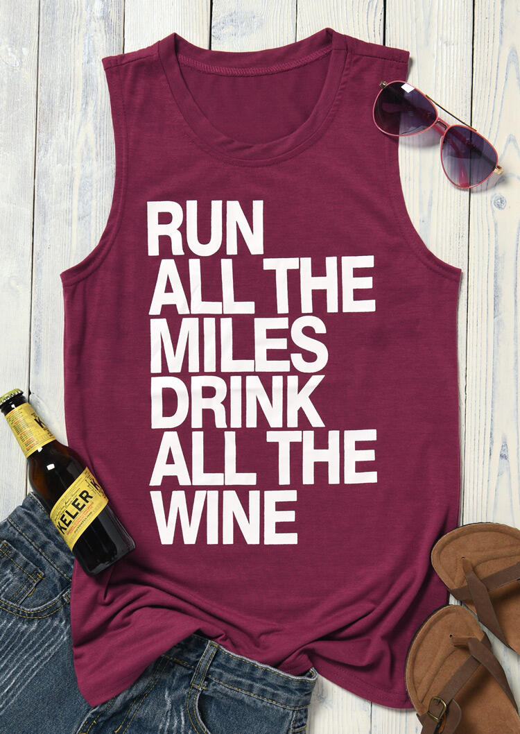 Tank Tops Run All The Miles Drink All The Wine Tank in Burgundy. Size: XL фото