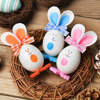 3 Pieces/Set Bowknot Bunnies Easter Eggs