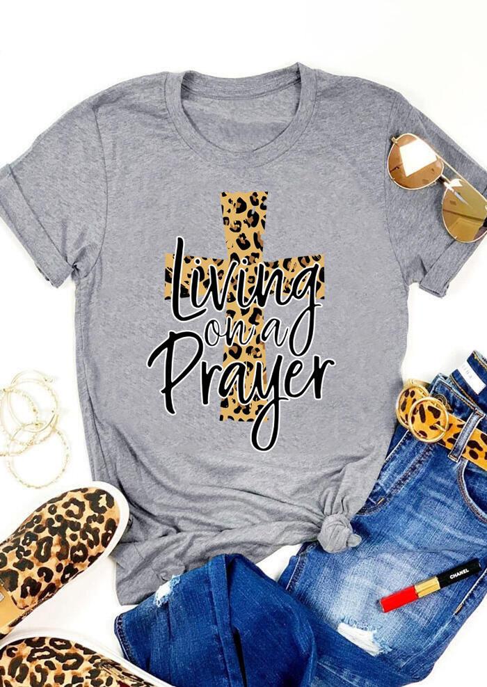 Living On A Prayer Cross Leopard Printed T-Shirt Tee - Gray фото