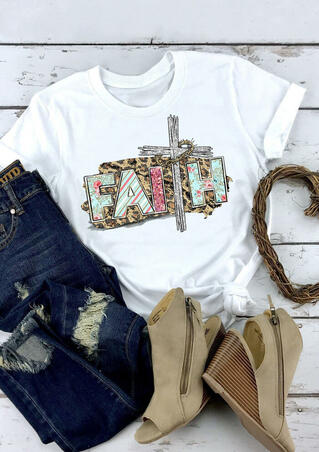 Presale - Faith Cross Leopard Printed T-Shirt Tee - White