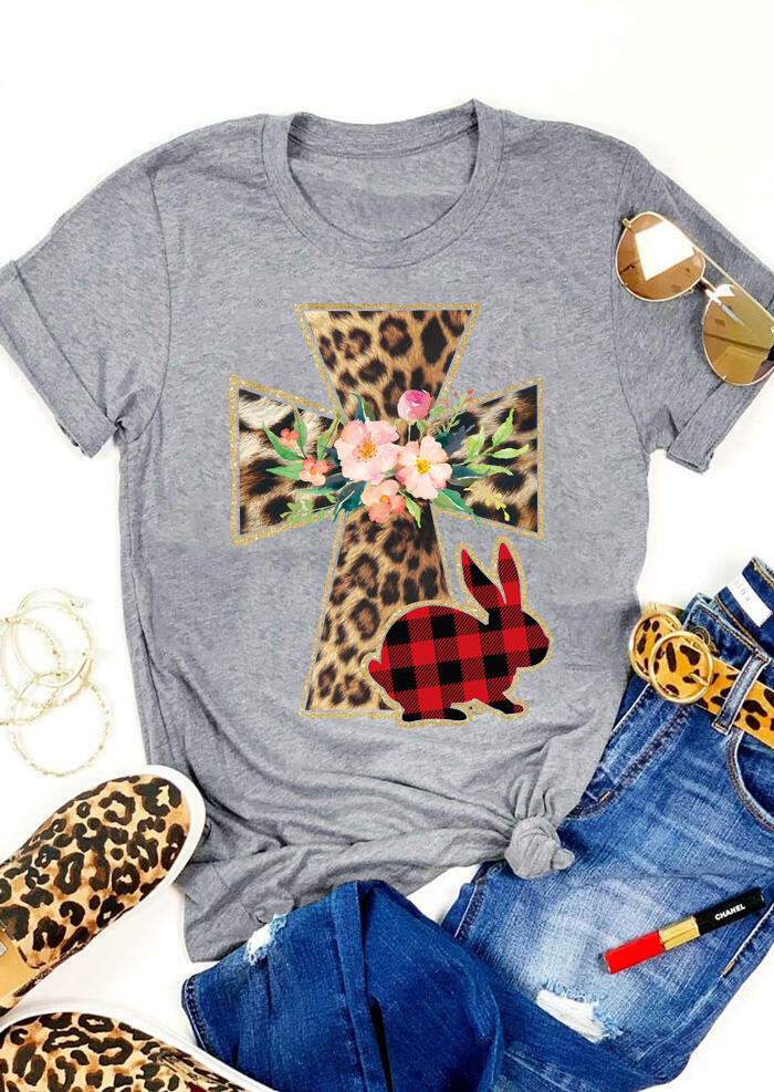 FairySeason / Presale - Easter Bunny Plaid Leopard Printed Cross T-Shirt Tee - Light Grey