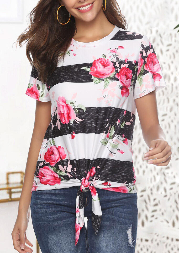Floral Striped Splicing Tie T-Shirt Tee фото