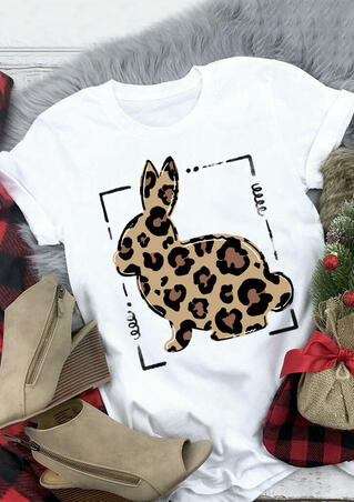 Easter Leopard Printed Bunny T-Shirt Tee - White