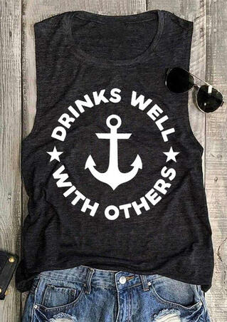 Presale - Drinks Well With Others Star Anchor Tank - Dark Grey