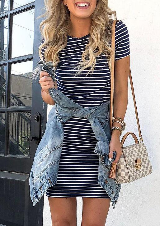 Striped O-Neck Mini Dress фото