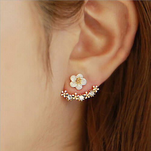 Rhinestone Daisy Flower Back Hanging Stud Earrings фото