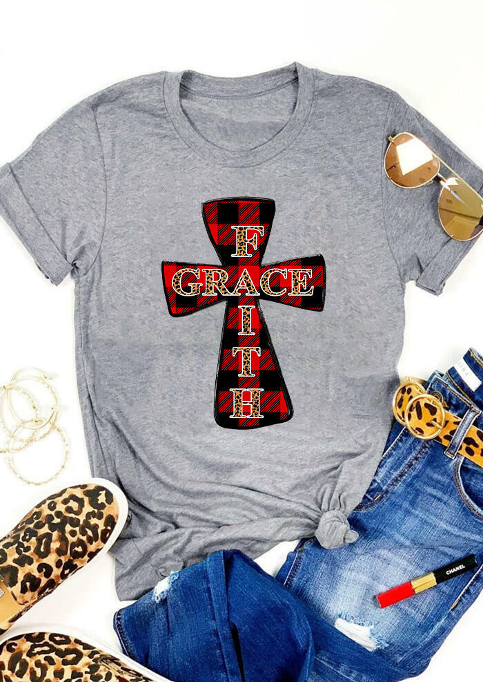 FairySeason / Presale - Plaid Leopard Printed Cross Faith Grace T-Shirt Tee - Gray