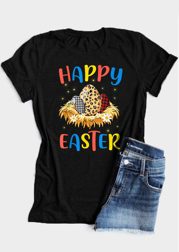 FairySeason / Presale - Plaid Leopard Printed Floral Happy Easter T-Shirt Tee - Black