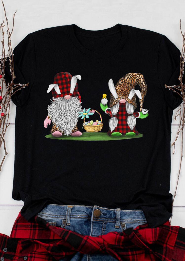 FairySeason / Presale - Easter Eggs Gnomies Plaid Leopard Printed T-Shirt Tee - Black