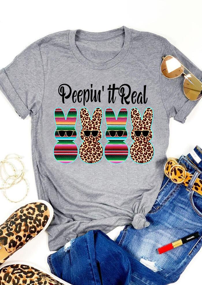 Peepin' It Real Easter Bunnies Leopard Printed Splicing T-Shirt Tee - Gray фото