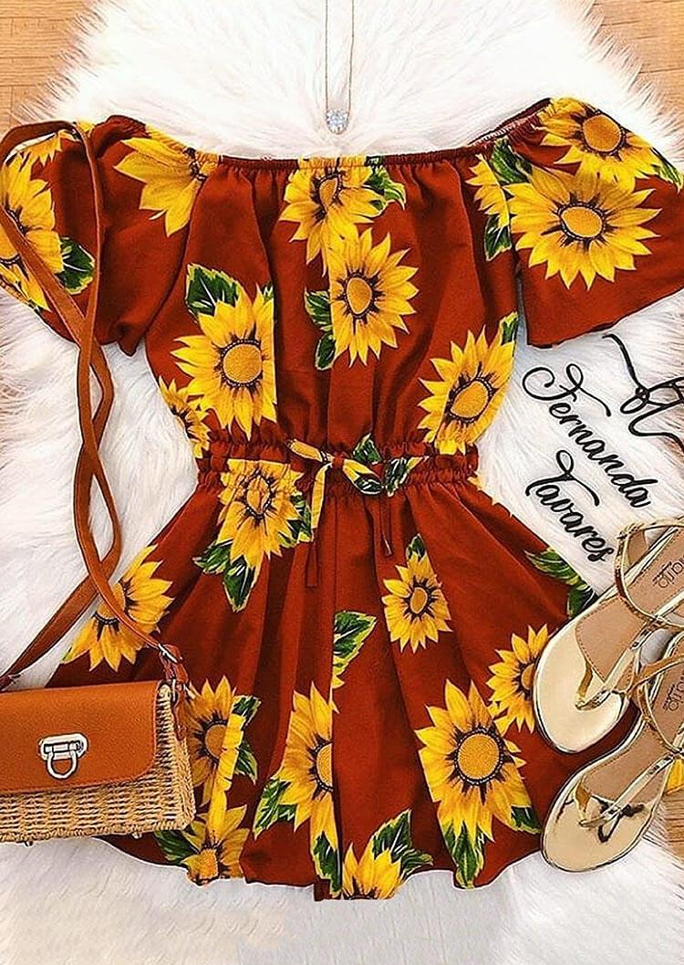 Sunflower Ruffled Tie Mini Dress - Brick Red фото
