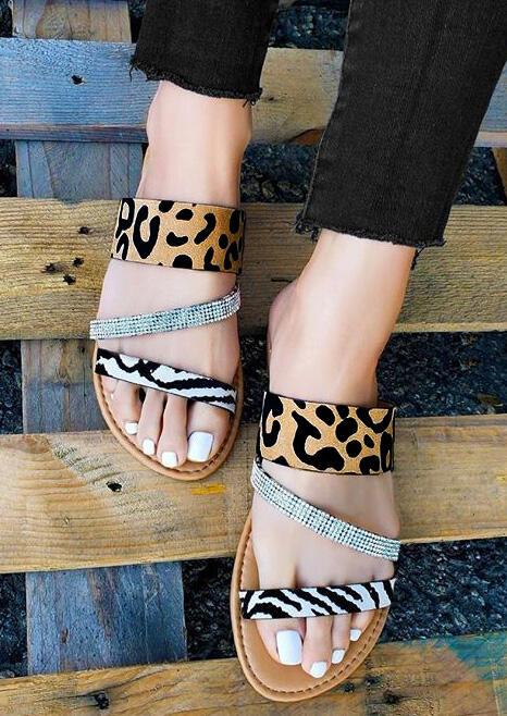 Leopard Printed Rhinestone Flat Sandals