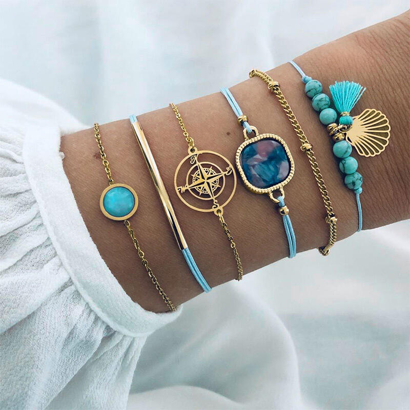 Bracelet 6Pcs Compass Tassel Beading Bracelets in Blue. Size: One Size фото