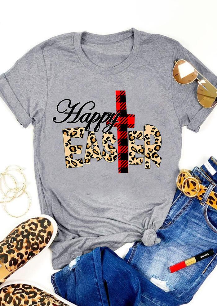 FairySeason / Presale - Happy Easter Cross Plaid Leopard Printed T-Shirt Tee - Gray