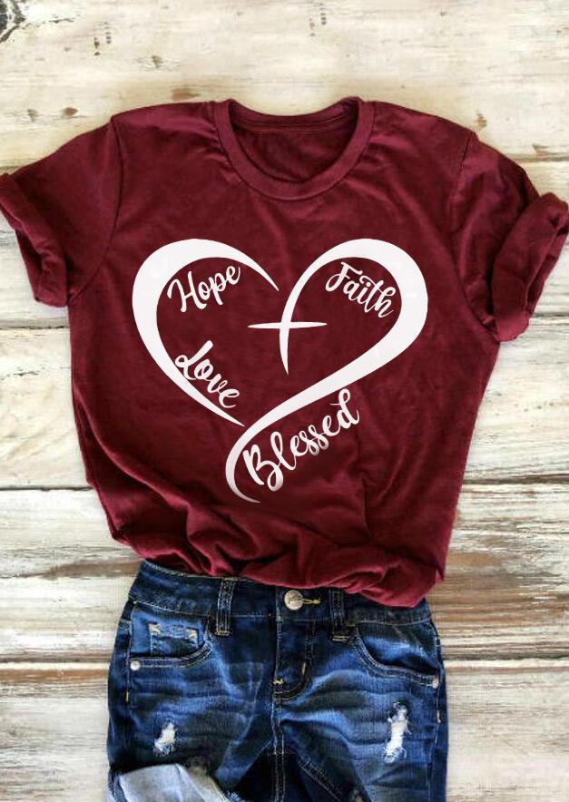 Hope Faith Love Blessed T-Shirt Tee - Burgundy фото