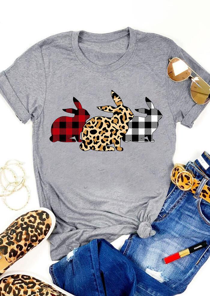 FairySeason / Presale - Plaid Leopard Printed Easter Day Bunny T-Shirt Tee - Gray