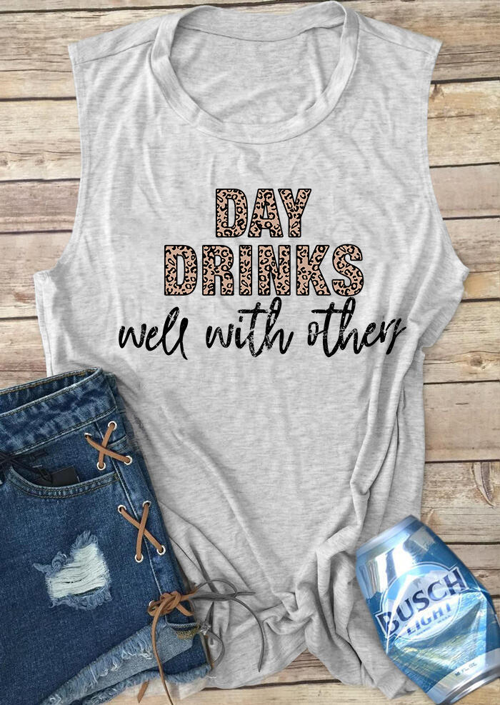 Tank Tops Leopard Printed Day Drinks Well With Others Tank - Gray. Size: S,M фото