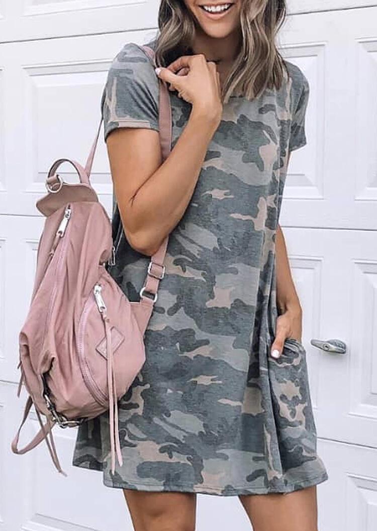 Mini Dresses Camouflage Printed Pocket O-Neck Mini Dress in Camouflage. Size: S,M,L,XL фото