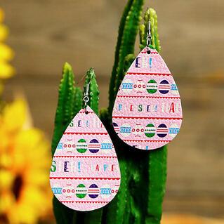 Easter Eggs PU Leather Earrings