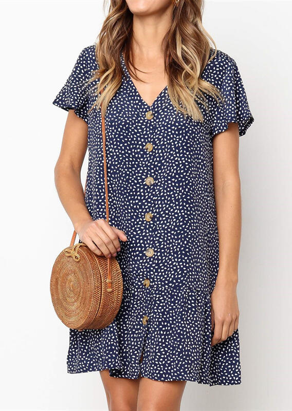 Mini Dresses Printed Button V-Neck Mini Dress in Navy Blue. Size: S фото