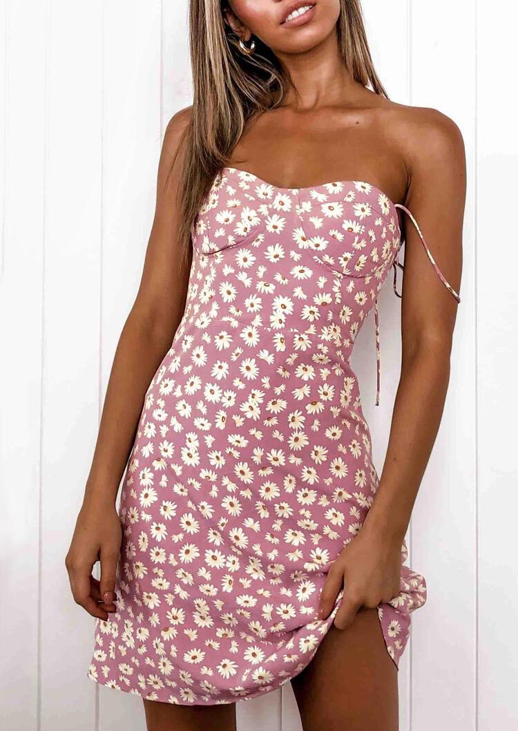 Daisy Ruffled Spaghetti Strap Mini Dress - Pink фото