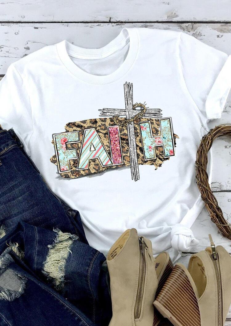 Faith Cross Leopard Printed T-Shirt Tee - White фото