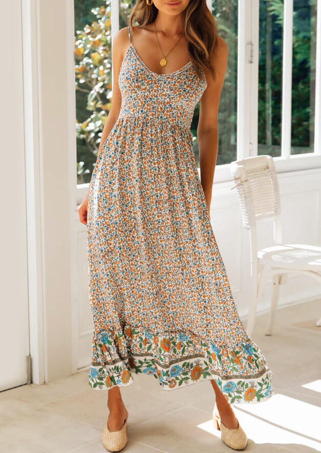 Floral Spaghetti Strap Maxi Dress without Necklace фото
