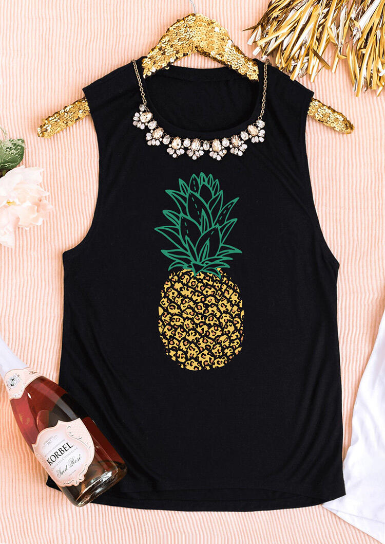 Leopard Splicing Pineapple Tank without Necklace - Black фото