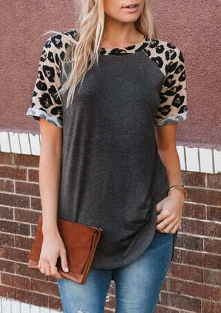 Leopard Printed Splicing O-Neck T-Shirt Tee - Dark Grey