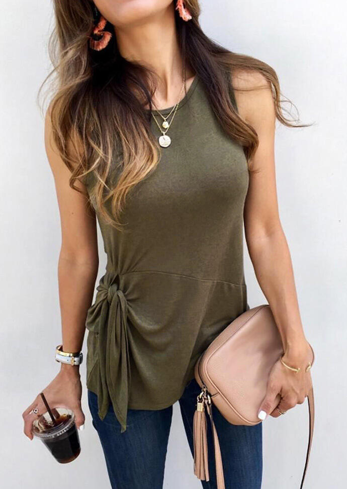 Tie O-Neck Tank without Necklace - Army Green фото