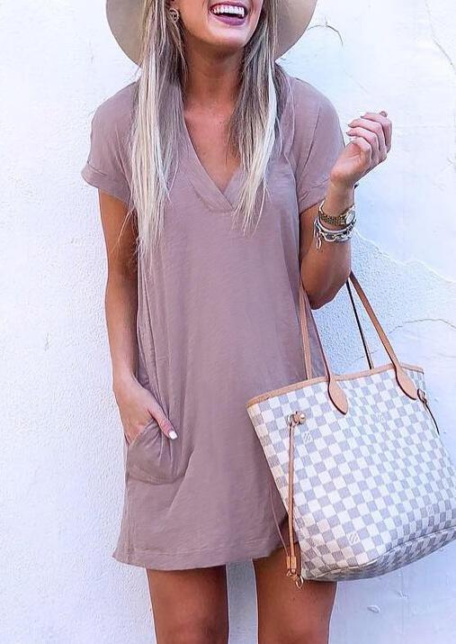 Mini Dresses Pocket V-Neck Mini Dress in Cameo Brown. Size: S,M,L,XL фото